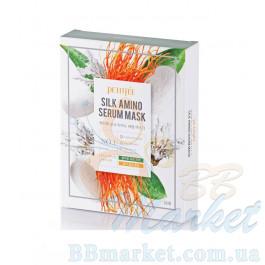 Маска для лица с протеинами шелка PETITFEE Silk Amino Serum Mask 25g - 10шт