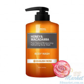 """Гель для душа """"Английская роза"""" KUNDAL Honey & Macadamia Body Wash English Rose 500ml"""