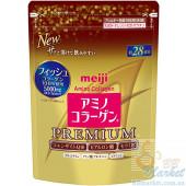 Японский Премиум Питьевой коллаген+гиалуроновая кислота+Q10 MEIJI Amino Collagen Premium (refill) 196g (на 28 дней)